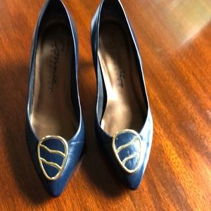 Connie Brazilian leather upper navy heels